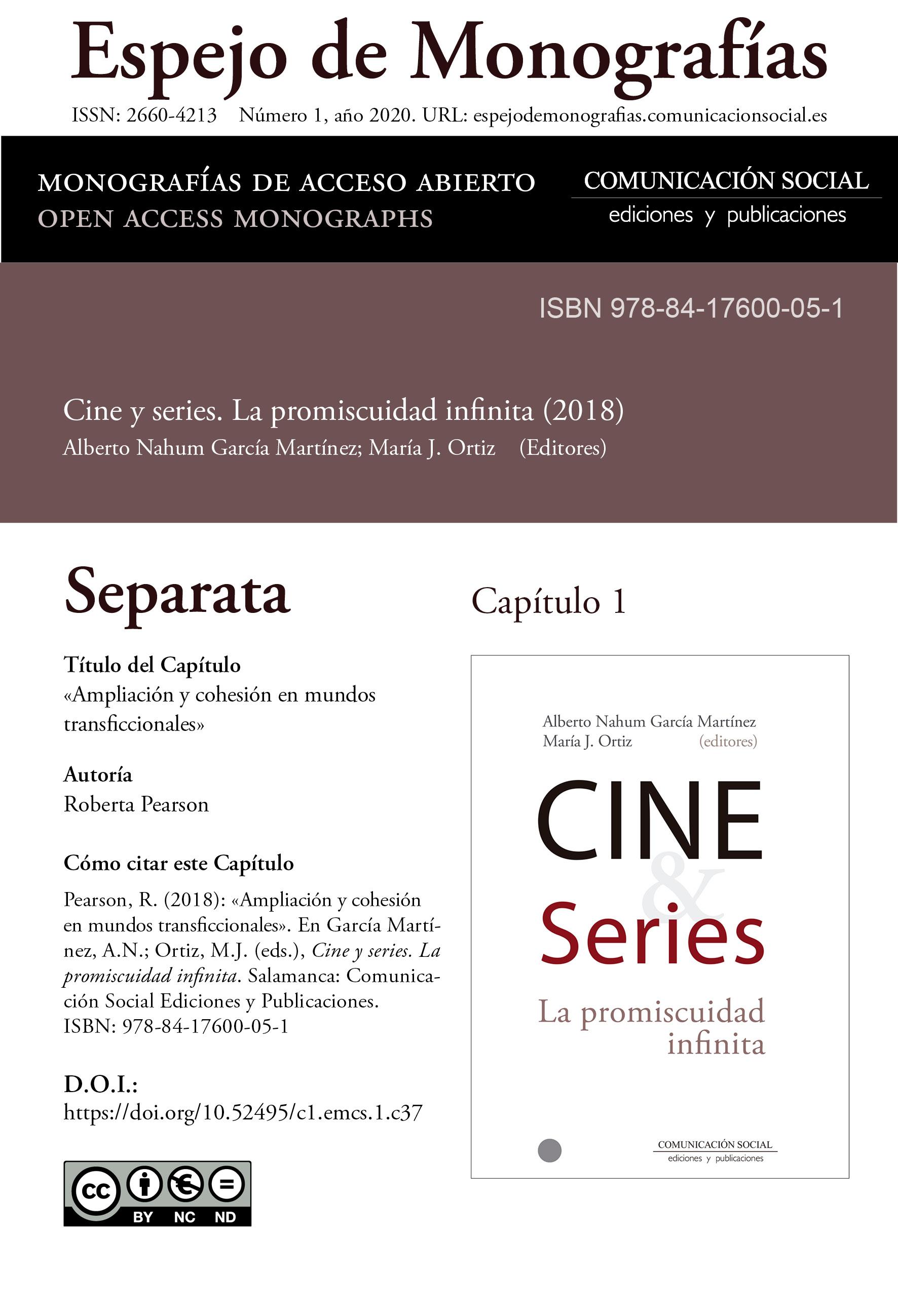 Separata del Capítulo 1 correspondiente a la monografía Cine y series