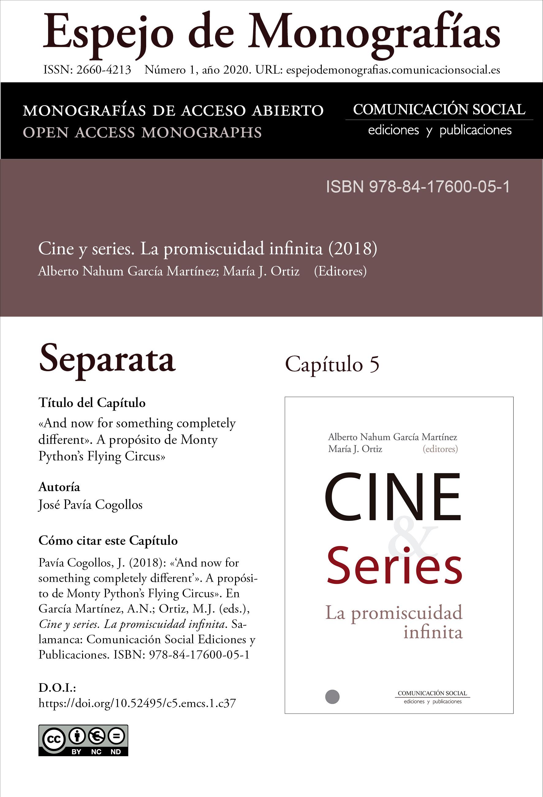 Separata del Capítulo 5 correspondiente a la monografía Cine y series: la promiscuidad infinita