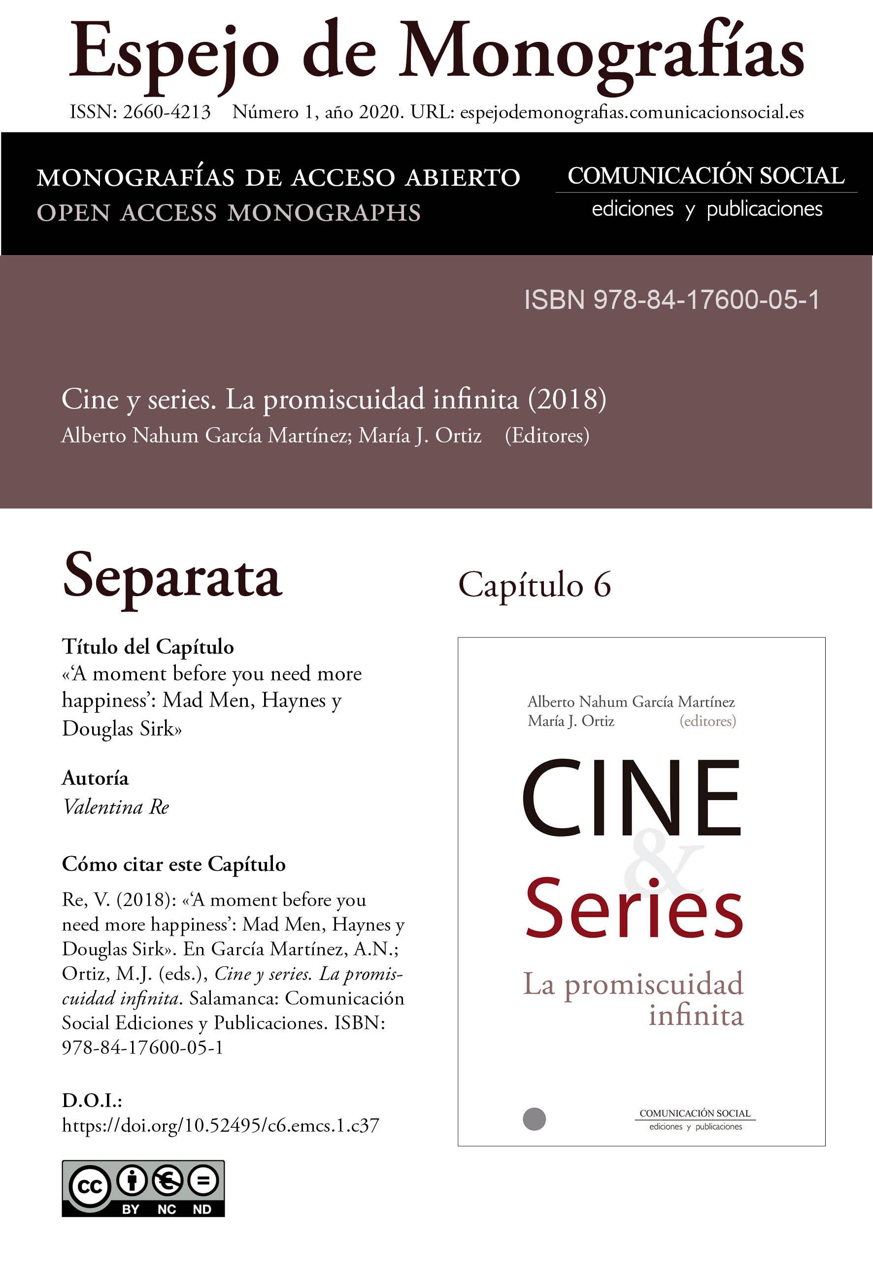 Separata del Capítulo 6 correspondiente a la monografía Cine y series: la promiscuidad infinita